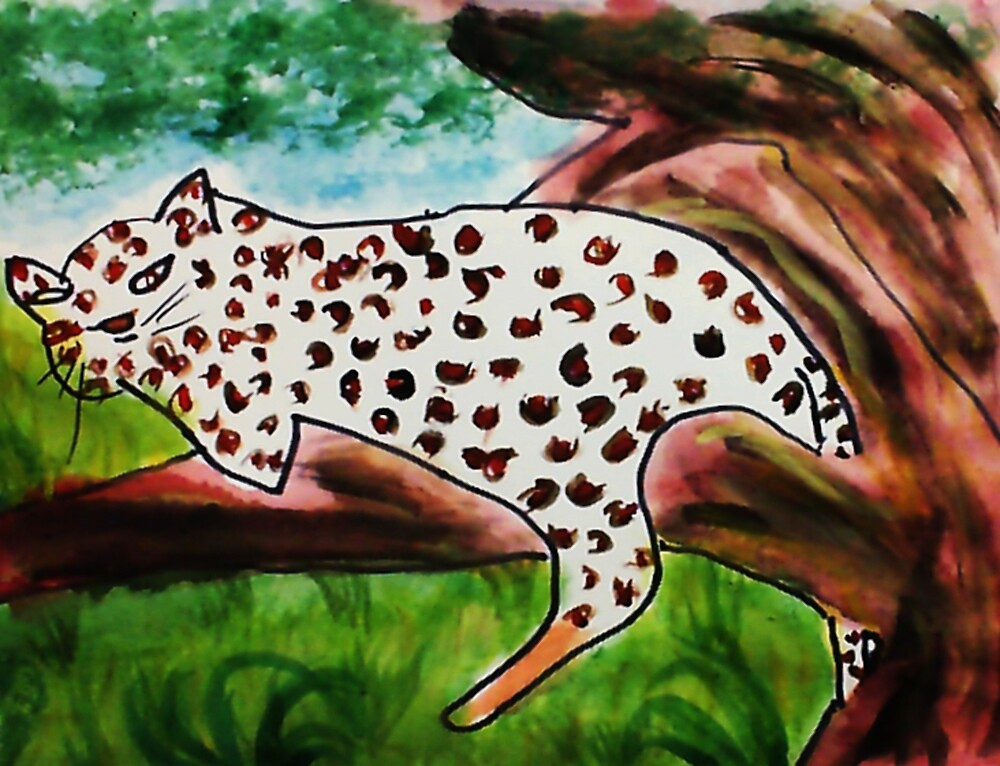 The Leopard, for Africa Series, watercolor by Anna  Lewis, blind artist