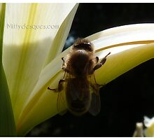 Abeille et iris by MittyDesques