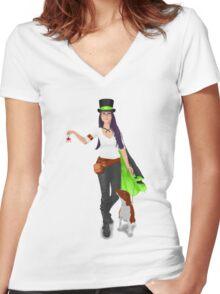 Steampunk Angel Women's Fitted V-Neck T-Shirt