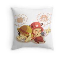 luffy n chopper Throw Pillow