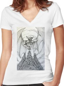 Chernabog in Night on Bald Mountain Women's Fitted V-Neck T-Shirt