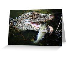 Alligator enjoying his just caught Catfish Greeting Card