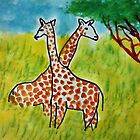 2 Girraffes in twined, watercolor by Anna  Lewis