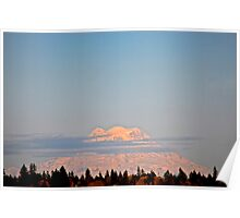 Mount Rainier & Wispy Cloud Poster