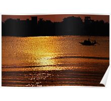 Sunset, Country boat heading towards golden rays Poster