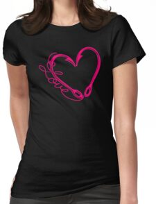 Fishing Hook Heart Love Womens Fitted T-Shirt
