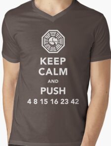 Keep calm and push 4 8 15 16 23 42 Mens V-Neck T-Shirt
