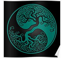 Teal Blue and Black Tree of Life Yin Yang Poster