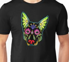Day of the Dead German Shepherd in Black Sugar Skull Dog Unisex T-Shirt