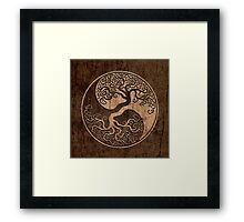 Rough Wood Grain Effect Tree of Life Yin Yang Framed Print