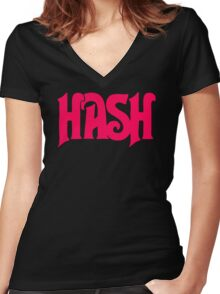 Hash Retro Women's Fitted V-Neck T-Shirt