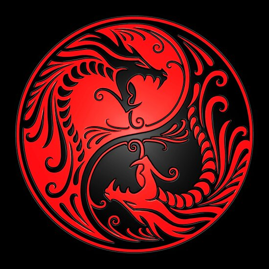 """""""Yin Yang Dragons Red and Black"""" Posters by jeff bartels ..."""