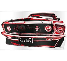 Red Ford Mustang illustration Poster