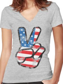 Retro American Peace Shirt Women's Fitted V-Neck T-Shirt