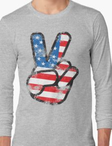 Retro American Peace Shirt Long Sleeve T-Shirt