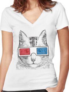 Cat Geek Shirt Women's Fitted V-Neck T-Shirt