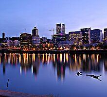 Portland's Willamette River Lights  by Don Siebel