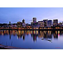 Portland's Willamette River Lights  Photographic Print