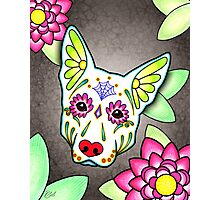 Day of the Dead German Shepherd in White Sugar Skull Dog Photographic Print