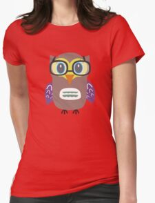 Nerdy owl  Womens Fitted T-Shirt