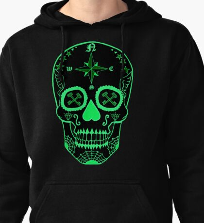 Navy LS - Day of the Dead Neon Green Pullover Hoodie