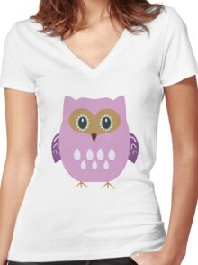 Pink owl  Women's Fitted V-Neck T-Shirt