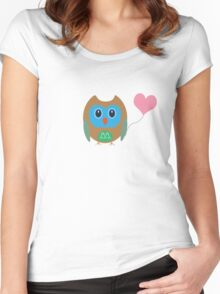 Cute owl with heartballoon Women's Fitted Scoop T-Shirt