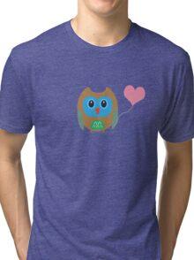 Cute owl with heartballoon Tri-blend T-Shirt