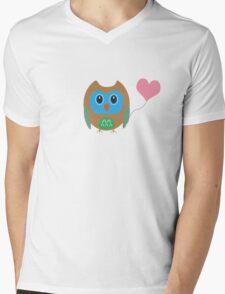 Cute owl with heartballoon Mens V-Neck T-Shirt