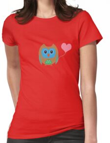 Cute owl with heartballoon Womens Fitted T-Shirt