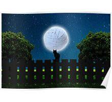 Cat in the Moonlight Poster