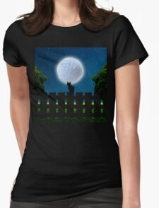 Cat in the Moonlight Womens Fitted T-Shirt
