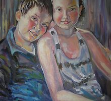 Best Friends- Portrait of brother and sister by Paulina Kazarinov