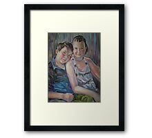 Best Friends- Portrait of brother and sister Framed Print