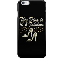 GORGEOUS GLITTERY 16 AND FABULOUS BIRTHDAY DESIGN iPhone Case/Skin