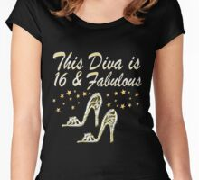GORGEOUS GLITTERY 16 AND FABULOUS BIRTHDAY DESIGN Women's Fitted Scoop T-Shirt