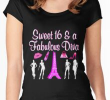 PARIS INSPIRED 16TH BIRTHDAY DESIGN Women's Fitted Scoop T-Shirt
