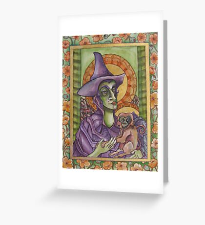 The Wicked Witch Illuminated Manuscript Greeting Card