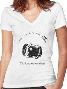 Nikkor 105mm Black Old love never dies! Women's Fitted V-Neck T-Shirt
