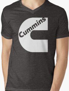 CUMMINS WHITE Mens V-Neck T-Shirt