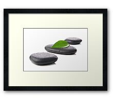 Zen basalt stones with leaf  Framed Print