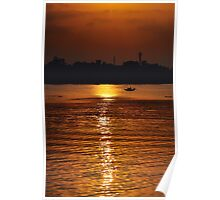 Sunset, Country boat heading towards golden rays, river ganges Poster