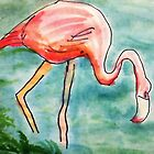 The Flamingo, in all her glory, watercolor by Anna  Lewis