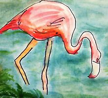 The Flamingo, in all her glory, watercolor by Anna  Lewis, blind artist