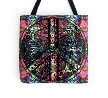 Circle of Peace Tangle with Tie Dye Background Tote Bag