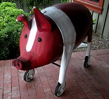 """""""PIG ON WHEELS""""  Wooden Sculpture by waddleudo"""