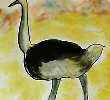 Th Ostrich, watercolor by Anna  Lewis, blind artist