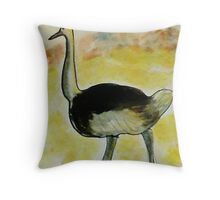 Th Ostrich, watercolor Throw Pillow