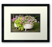 Flower Garden in a Bathtub Framed Print
