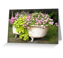 Flower Garden in a Bathtub Greeting Card